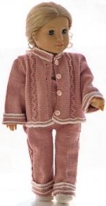 dollknittingpattern 0188d ursula - jacket, pants, shore-sleeved sweater, bonnet and shoes-(english)
