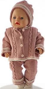 dollknittingpatterns 0188d ursula - jasje, lange broek, truitje met korte mouw, muts en schoentjes-(nederlands)