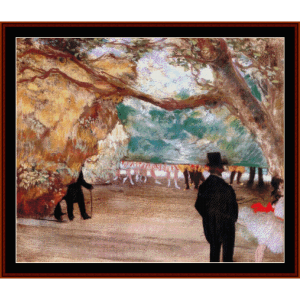 the curtain - degas cross stitch pattern by cross stitch collectibles