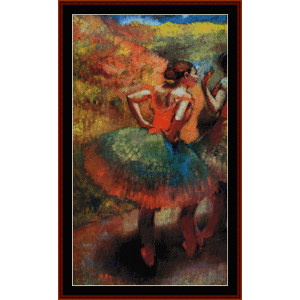 two dancers in green skirts - degas cross stitch pattern by cross stitch collectibles