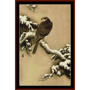 goshawk on pine branch - asian art cross stitch pattern by cross stitch collectibles