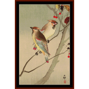 japanese waxwings - asian art cross stitch pattern by cross stitch collectibles