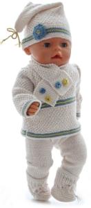 dollknittingpatterns 0189d cindy - genser, bukse, kortermet genser i gult, lue, blå sko, hvite sokker, skjerf-(norsk)