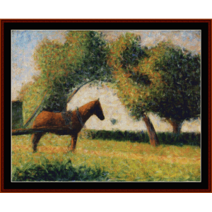 horse cart, 1884 - seurat cross stitch pattern by cross stitch collectibles