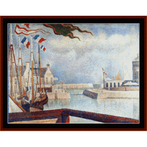 sunday at port bessin, 1888 - seurat cross stitch pattern by cross stitch collectibles