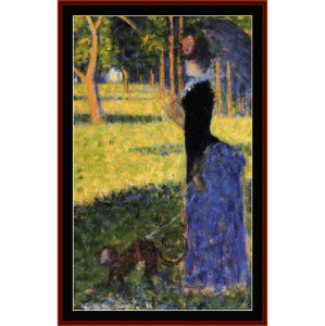 woman with a monkey, 1884 - seurat cross stitch pattern by cross stitch collectibles