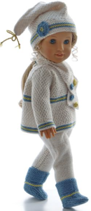 dollknittingpattern 0189d cindy - sweater, pants, short-sleeved sweater, cap, shoes and scarf-(english)