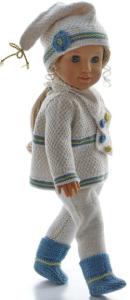dollknittingpatterns 00189d cindy - pull, pantalon, pull à manches courtes, bonnet,écharpe et chaussures(francais)