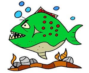colored piranha illustration