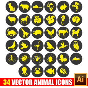 34 animal icon in vector+bonus