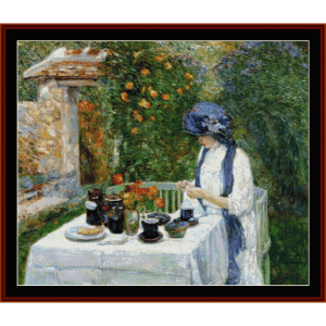 french tea garden - childe-hassam cross stitch pattern by cross stitch collectibles