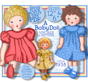 edith flack ackley 1930 cloth doll pattern - a baby toddler  doll