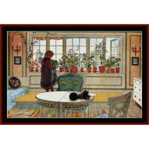 flowers on the windowsill - larsson cross stitch pattern by cross stitch collectibles