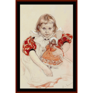 young girl with a doll - larsson cross stitch pattern by cross stitch collectibles