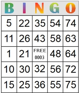 bingo card 3