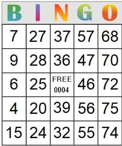 bingo card 4