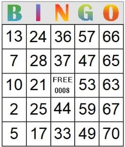 bingo card 8