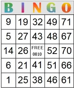 bingo card 10