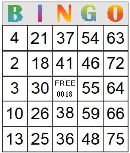 bingo card 18