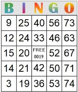 bingo card 19
