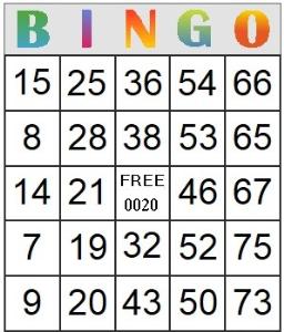 bingo card 20