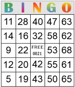 bingo card 21