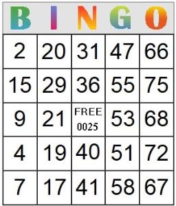 bingo card 25