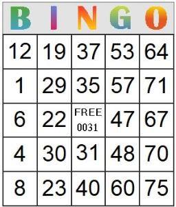 bingo card 31