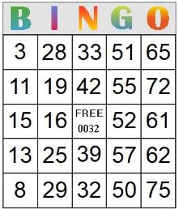 bingo card 32