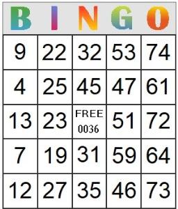bingo card 36