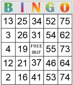 bingo card 37