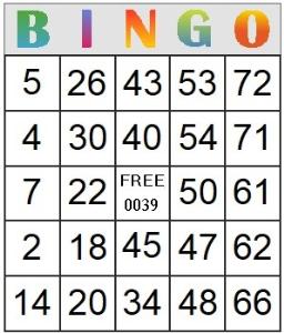 bingo card 39