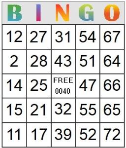 bingo card 40
