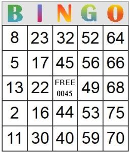 bingo card 45