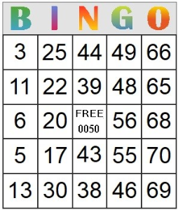 bingo card 50