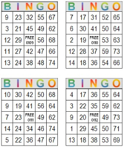 bingo multi card 109-112