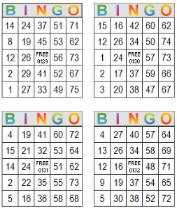 bingo multi card 129-132