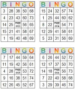 bingo multi card 133-136