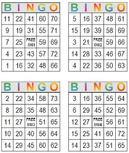 bingo multi card 181-184