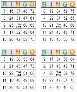 bingo multi card 189-192