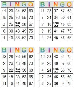 bingo multi card 193-196