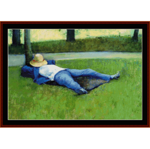 the nap - caillebotte cross stitch pattern by cross stitch collectibles