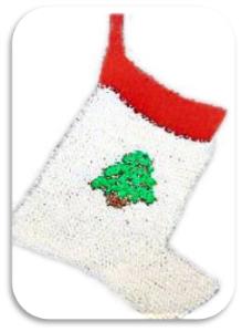 applique tree stocking pattern -knitting