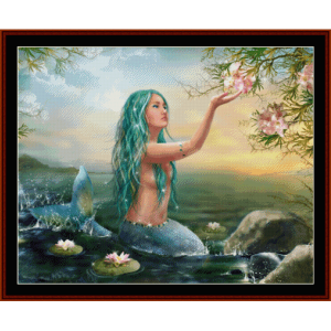 mermaid in the sunset - fantasy cross stitch pattern by cross stitch collectibles