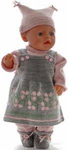 dollknittingpatterns 0190d stella - seleskjørt, genser, strømpebukse, lue og sokker-(norsk)