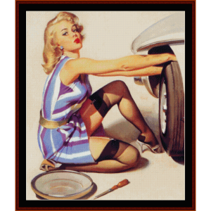 pin-up changing tire - vintage poster cross stitch pattern by cross stitch collectibles