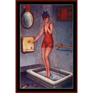 pin-up in shower - vintage poster cross stitch pattern by cross stitch collectibles