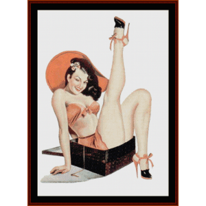 pin-up in a box - vintage poster cross stitch pattern by cross stitch collectibles