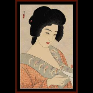 the geisha ichimaru - asian art cross stitch pattern by cross stitch collectibles