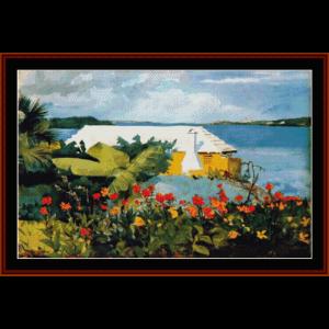 flower garden in bermuda - winslow homer cross stitch pattern by cross stitch collectibles